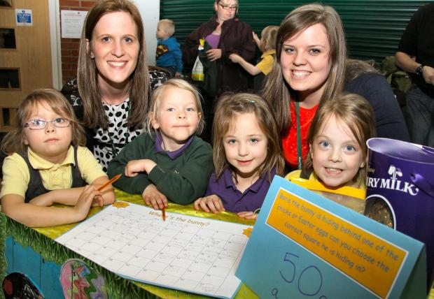 The Advertiser Series: Where's the Bunny? stallholders, L-R, Tia Ridley, five, Gemma Chambers, Grace Auton, five, Lexie Stacey, five, Hannah Robertson and Olivia McGuire, four