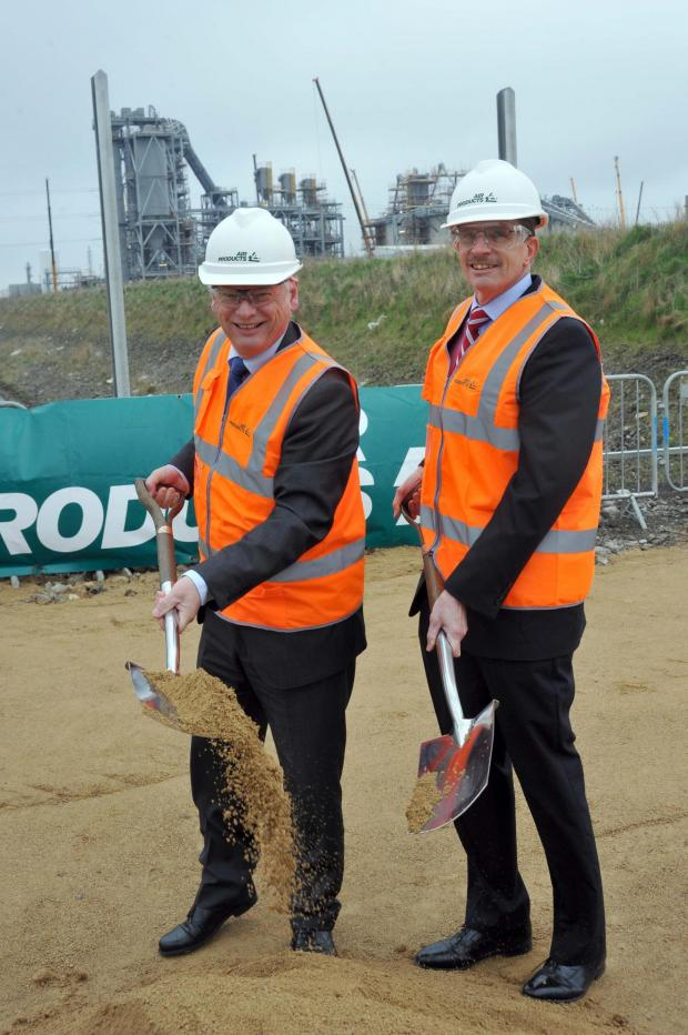 The Advertiser Series: Francis Maude, Minister for the Cabinet Office, left. with David Taylor, Air Products' energy business vice-president, at the site of the new factory