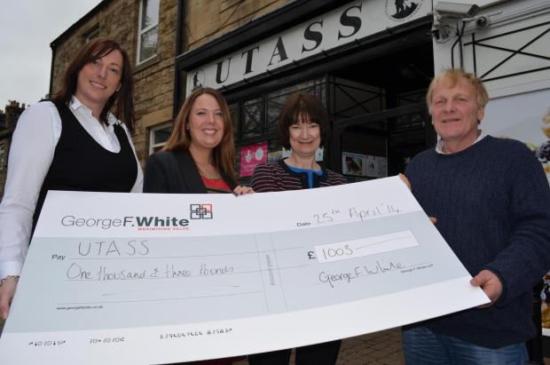 The Advertiser Series: CHARITY SUPPORT: Sheryl Sowden and Lindsay French (left) present a cheque for £1,003 to Julia Stephenson and Richard Betton, from Utass.