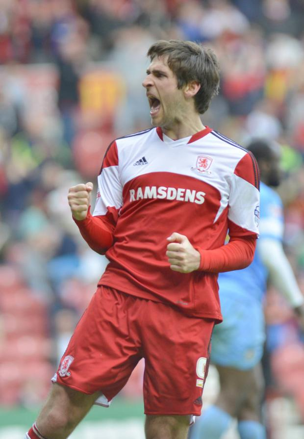 The Advertiser Series: FEELING GOOD: Danny Graham celebrates putting Middlesbrough in the lead