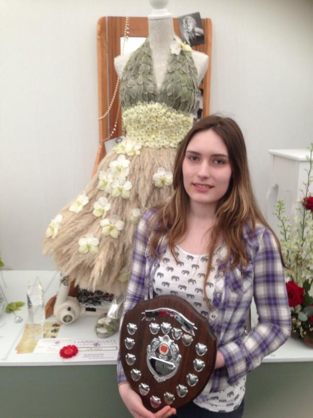 The Advertiser Series: Charlotte Vayro, from Masham, with her award-winning floral creation and trophy