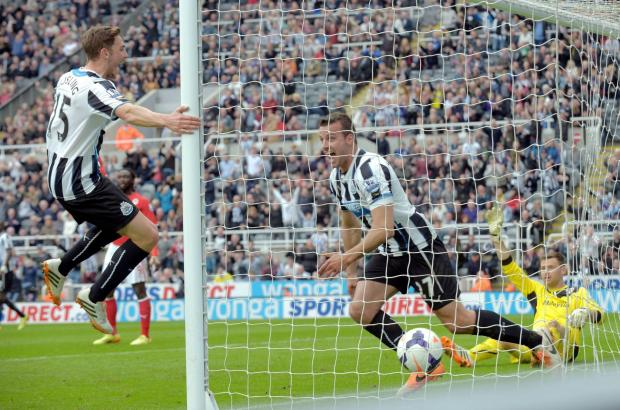 The Advertiser Series: JUMPING FOR JOY: Dan Gosling swings around on the post after Steven Taylor scored at St James' Park
