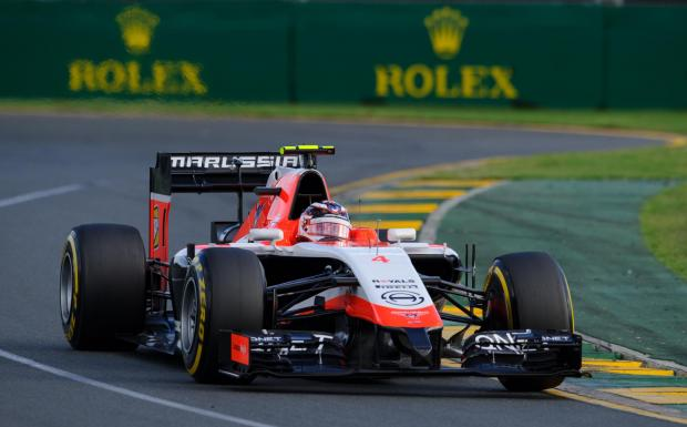 The Advertiser Series: Marussia driver Max Chilton navigates a corner at the Australian Grand Prix, in Melbourne, earlier this year. Marussia works with Sage Group on software to boost its performance