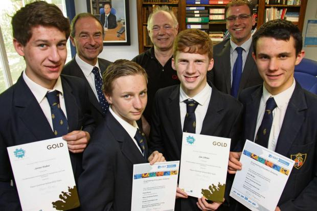 The Advertiser Series: Engineering their future: (back row L-R) Ripon Grammar School headmaster Martin Pearman, Bob Hinchcliffe of Quasar Automation, and Mike Barker, head of engineering at Ripon Grammar School; (front row L-R) James Walker, David Stone, Zak O'Brien and Z