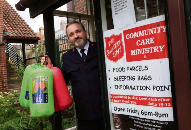 The Advertiser Series: Darlington Salvation Army appeal for sleeping bags to be donated pictured Colin Bradshaw Salvation Army minister