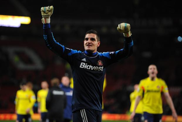 The Advertiser Series: GOOD MEMORIES: Vito Mannone celebrating Sunderland's semi-final penalty shoot-out win at Old Trafford last season