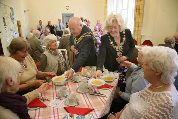 The Advertiser Series: WAITING ON: Mayor and Mayoress of Darlington Charles and Carol Johnson serve soup at the Age UK lunch club at Elm Ridge. Picture: ANDY LAMB  (6181445)
