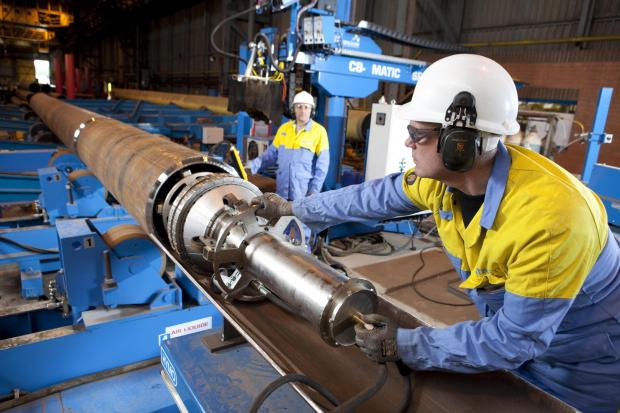 The Advertiser Series: Workers operate machinery at Tata Steel's Hartlepool pipe mill