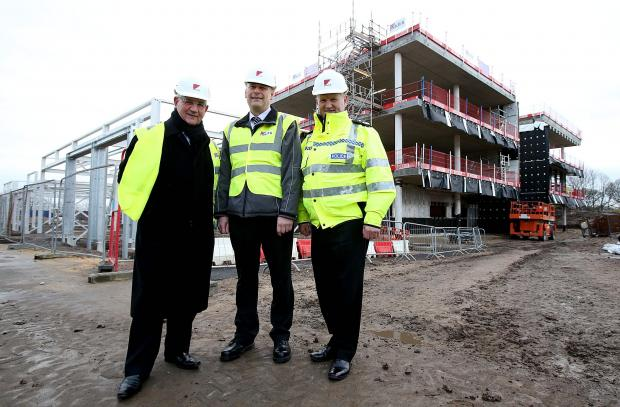 The Advertiser Series: NEW BUILD: Police and Crime Commissioner Ron Hogg, left, and Chief Constable Mike Barton, right, join project manager Stuart Semple from Kier Construction on a tour of Durham Police's new headquarters