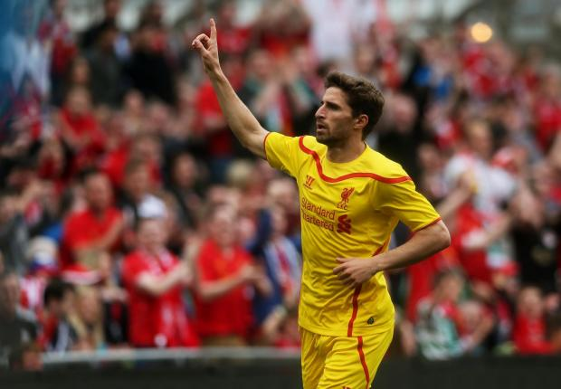 The Advertiser Series: Goal-getter: Liverpool's Fabio Borini celebrates scoring at the Aviva Stadium on Wednesday after returning from a Sunderland loan
