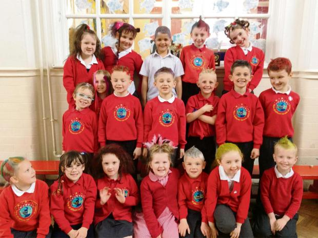 The Advertiser Series: BIG HAIR: Children from Bowburn Infants and Nursery School take part in a sponsored Bad Hair Day