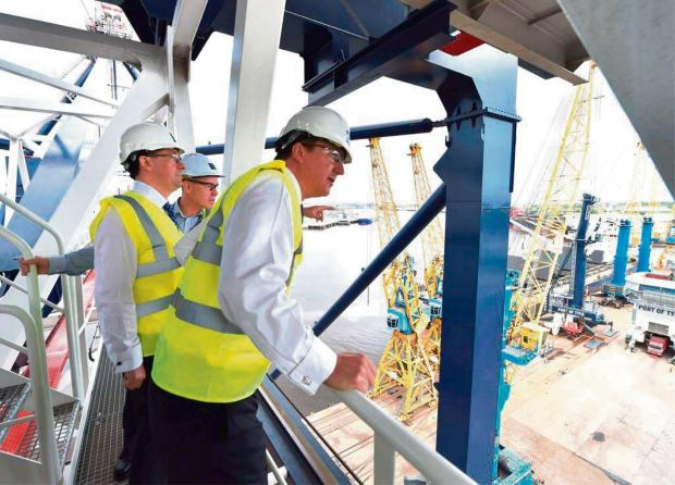 The Advertiser Series: Prime Minister David Cameron looks out from the gantry crane at the Port of Tyne