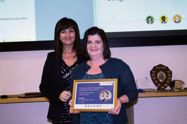 The Advertiser Series: NIGHTINGALE AWARD: Jill Best, right, receives her award from nurse consultant Jayne Mudd