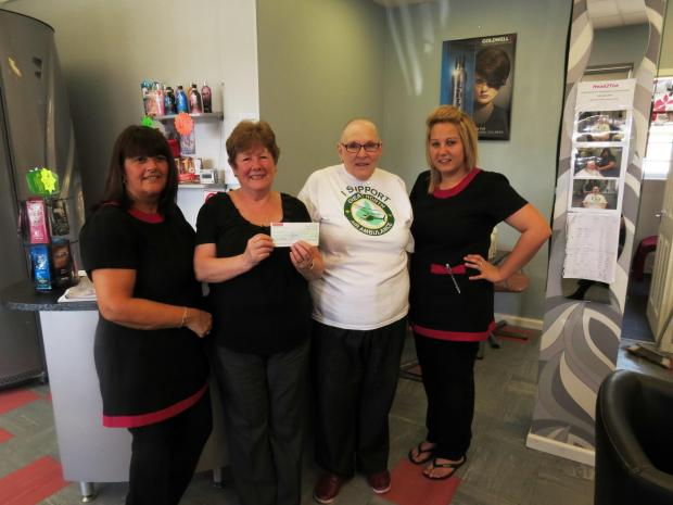 The Advertiser Series: HAIR TODAY: Salon owner Sharon Williams, GNAAS volunteer co-ordinator Janet Hume, salon customer Janet Thorp and salon staff member Lauren Graeme.