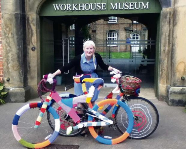 The Advertiser Series: CHAIN REACTION: Naomi Parson, learning and access officer at Ripon Museum Trust, with bikes that have been decorated using traditional yarn skills