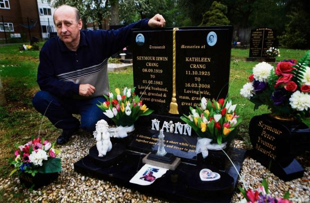 The Advertiser Series: DEVASTATED: Maurice Crang visits his parents' grave in Darlington's East Cemetery where thieves have stolen flowers that were left on their grave. Picture: SARAH CALDECOTT