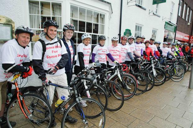 The Advertiser Series: MEMORIAL RIDE: Friends and family of Kelvin McGibbon ahead of the fundraising bike ride in his memory. Credit: J.D Photography, Thirsk.