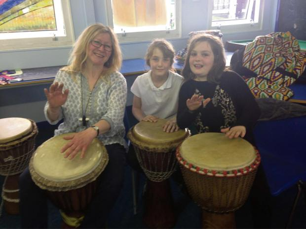 The Advertiser Series: DRUM TIME: Alison Lyon from Drums Agogo with, Katie Durkin,11, and Nadine Crowther, 9.