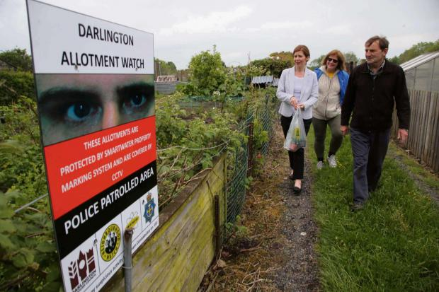 The Advertiser Series: WATCHING YOU: The launch of allotment watch at Bellburn Lane, Darlington with from left MP Jenny Chapman, and allotment association organisers Sally Forth and Paul Richmond. Picture: ANDY LAMB