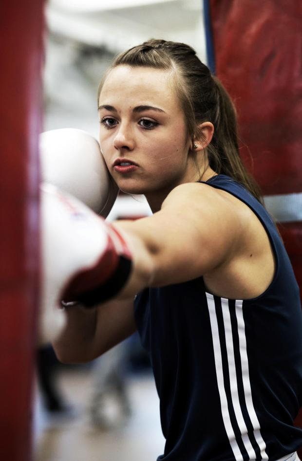 The Advertiser Series: EUROPEAN COMPETITION: Hannah Robinson of Bishop Auckland Boxing Club, training hard ahead of her fight. Picture: STUART BOULTON