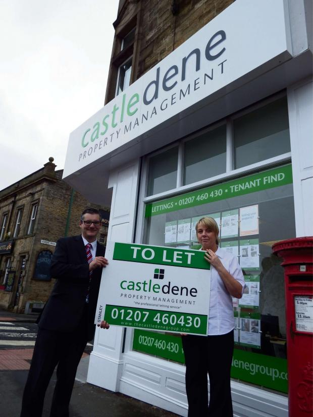 The Advertiser Series: NEW OPENING: Castledene's Stanley branch manager John Robson with portfolio manager Kirsty Cartridge