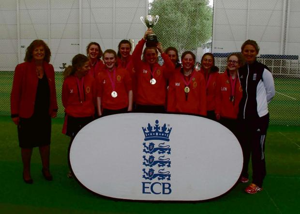 The Advertiser Series: SPORTING SUCCESS: From left, Marilyn Fry, outgoing chair of the Lady Taverners, with students Lucy Hartley,  Abby Blenkiron, Amy Jobling, India Wilson, captain Georgi Walker, Mairi Teasdale, Meg Walker, Rosie Brannigan, Liberty Noke and England women'