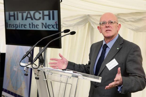 The Advertiser Series: ON TRACK: Keith Jordan, managing director of Hitachi Rail Europe, talks at event at the Hitachi Rail factory in Newton Aycliffe to mark the erection of the steel frame of the building. Picture: TOM BANKS. (6660266)