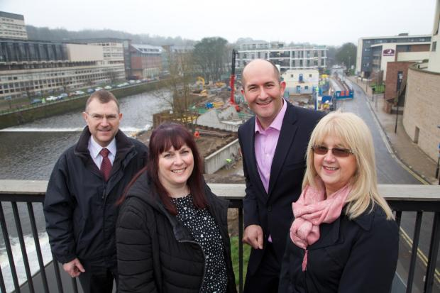 The Advertiser Series: RIVERSIDE RENEWAL: left to right Steve Gray (NS&I), Carole Soulsby (NS&I), Neil McMillan (Carillion Developments) and Janine Bonnick (HMPO) overlooking the development at Freeman's Reach.
