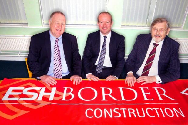 The Advertiser Series: WORKING TOGETHER: Pictured from left to right are Brian Manning, Esh Group chief executive, John Davies, managing director of Esh Construction, and Peter Conway, managing director of Border Construction, after Esh completed a deal for the Cumbrian firm