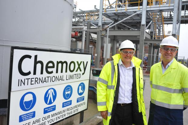 The Advertiser Series: FUTURE GROWTH: Chemoxy International chief executive Ian Stark, left, and chief operating officer Martyn Bainbridge watch work progress on a £6m expansion at the firm's Billingham plant