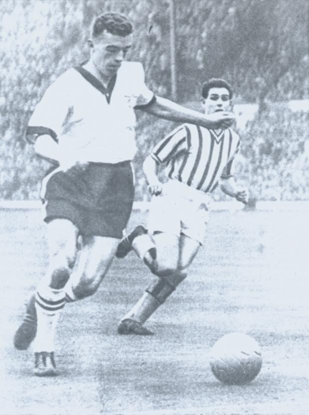 The Advertiser Series: Mike Tracey in action for Crook in the 1959 FA Amateur Cup final in which he scored two goals