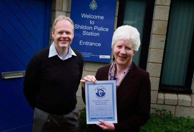 The Advertiser Series: VOLUNTEER WEEK: Carol Fletcher, who has won an award for her volunteer work with Shildon police, with Sergeant Tim Kelly.