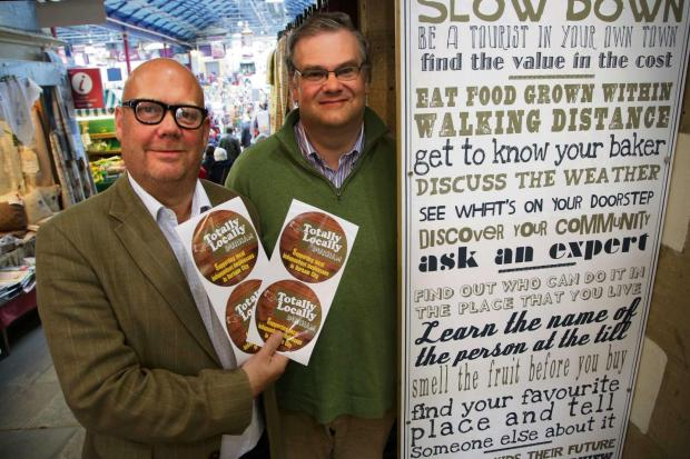 The Advertiser Series: LOCAL FLAVOUR: Michael Powney, left, from Vennels Cafe in Durham City with markets boss Colin Wilkes promoting the Totally Locally campaign launched in Durham.  Picture: ANDY LAMB (6849755)