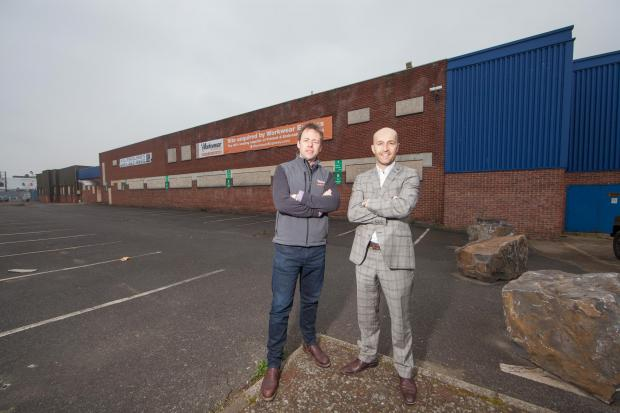 The Advertiser Series: STRONG GROWTH: The purchase of the former Kerry Foods factory by entrepreneur Andrew Ward helped to fuel growth at Bradley Hall. Mr Ward, left, is pictured at the site with Bradley Hall director Peter Bartley