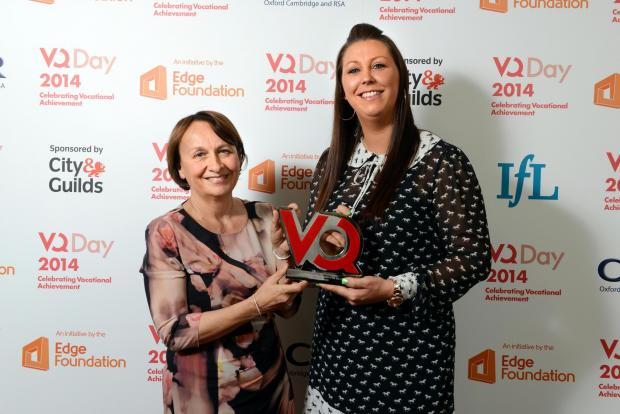 The Advertiser Series: TEACHING SUCCESS: Katy Graham receives her award from Jan Hodges, of t