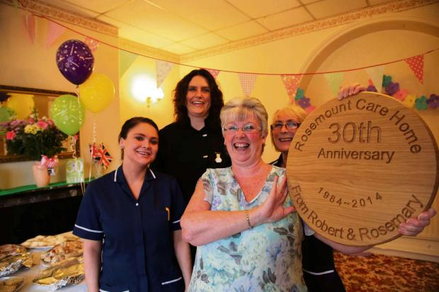 The Advertiser Series: CARE TAKEN: Staff at Rosemount Care Home in Consett where they are celebrating 30 years. From left Samantha Soulsby, Kerry Bell, manager Mary Westgarth and Kathleen Turner. Picture: ANDY LAMB