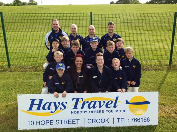 The Advertiser Series: Kayleigh Formosa and Kassandra Wallace (front row centre) present Hunwick Cricket Club's Under 11s with their new jackets. Also present are the team's coaches.