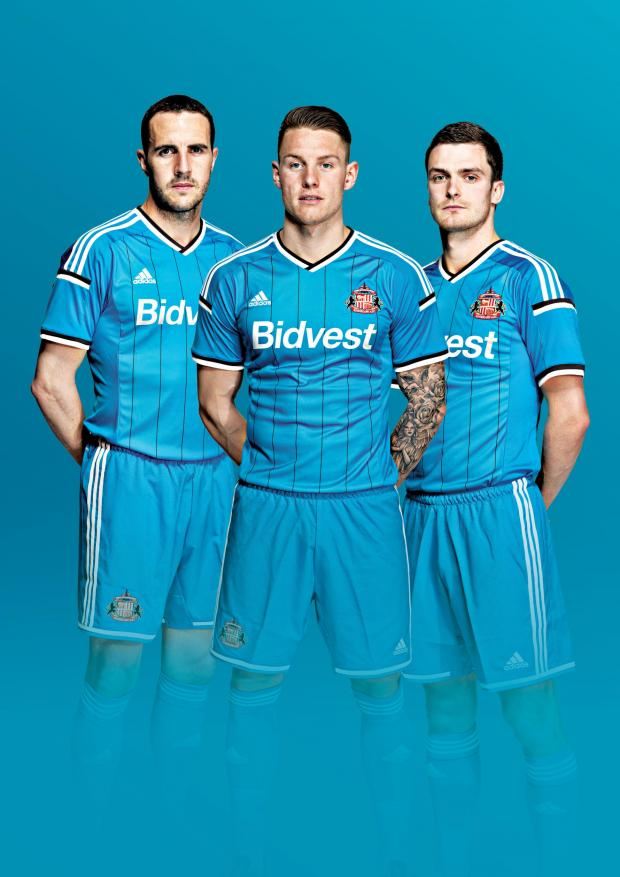 The Advertiser Series: FEELING BLUE: Sunderland AFC have unveiled its new away kit for the 2014-15 Barclays Premier League season, which will launch on Friday, June 27. John O'Shea, Connor Wickham and Adam Johnson are pictured modelling the new kit