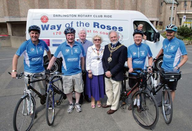 The Advertiser Series: RIDE ON: Darlington Mayor and Mayoress Gerald and Ruth Lee with cyclists who will be attempting the coast to coast charity cycle ride.       Picture: ANDY LAMB