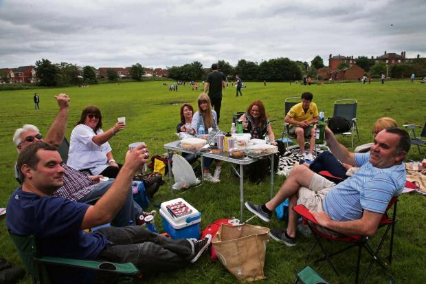 The Advertiser Series: PARK LIFE: Family and friends from nearby Oakfields picnic  along with other protesters against plans to develop this green area at Bellburn Lane, Darlington.    Picture: ANDY LAMB (7162135)