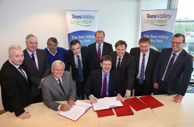 The Advertiser Series: DEAL SIGNED: Seated, from left to right are Sandy Anderson, Tees Valley Unlimited chairman, and Minister for Cities Greg Clark. Back row, from left to right, are Councillor Christopher Akers-Belcher, Hartlepool Borough Council leader,  Councillor Bob Cook