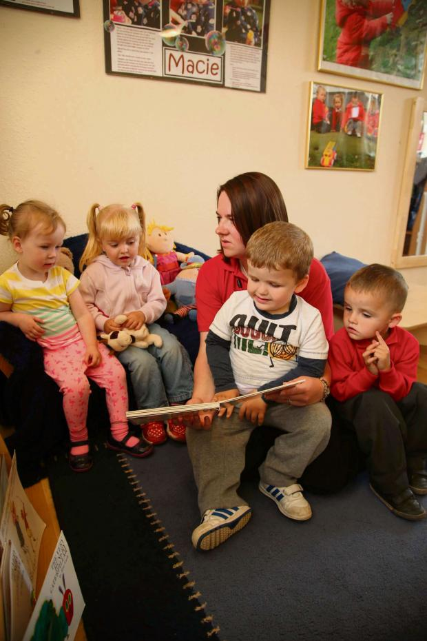 The Advertiser Series: TOP CLASS: The two year olds class at Trimdon Grange Infant and Nursery School. The class has received an outstanding Ofsted rating. With teacher Hannah Cullen are from left Macie Kelly, Summer Blackwood, Bailey