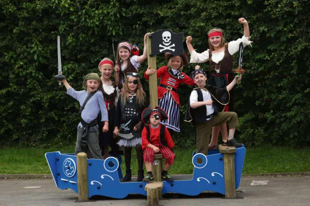 The Advertiser Series: SHIP AHOY: Pirate pupils aboard their new ship at Hunwick Primary School.     Picture: ANDY LAMB