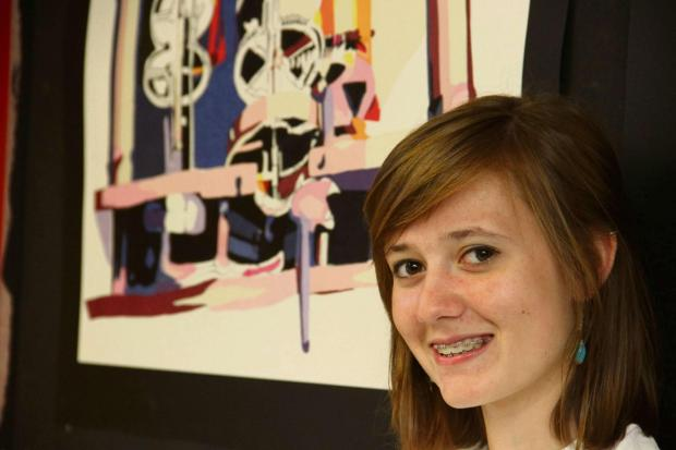 The Advertiser Series: COLLEGE ART: Student Emma Wilson shows off her work.
