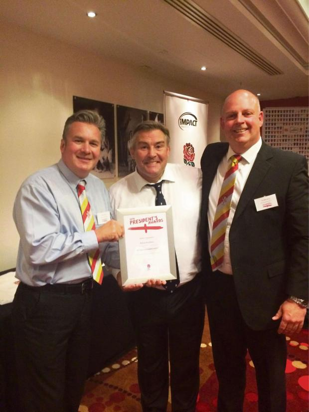 The Advertiser Series: MOST IMPROVED: Richmondshire Rugby Club president Nick Hunter (left), future RFU presidentJason Leonard and Richmondshire development offic