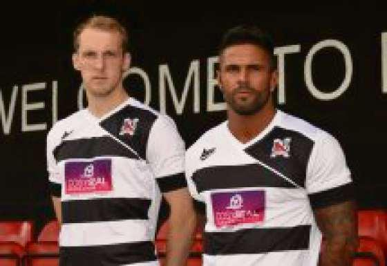 The Advertiser Series: NEW LOOK: Darlington players Gary Brown and Leon Scott model the new home shirt