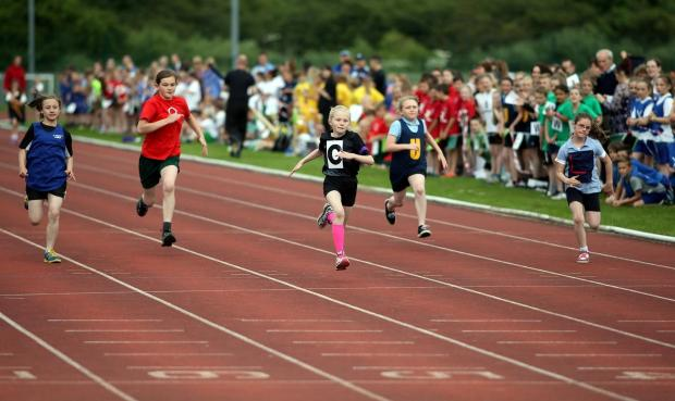 The Advertiser Series: The 50th annual meeting for primary schools of the Chester-le-Street Junior Schools Athletic Association at the Riverside, Chester-le-Street.  Action from a girls' 60m heat.  Picture: CHRIS BOOTH (7555314)