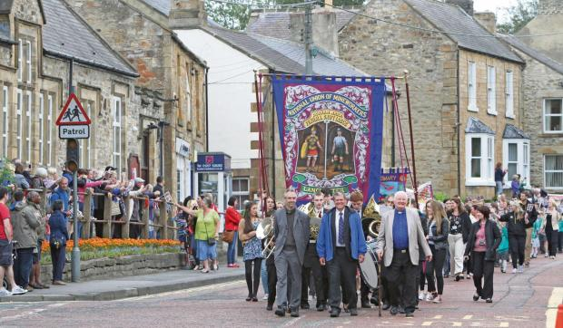 The Advertiser Series: Replica of Fenhall Drift Lodge banner is paraded through Lanchester mar