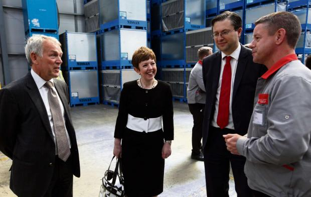 The Advertiser Series: REGIONAL VISIT: Pictured from left to right are Paul Woolston, from the North East LEP, Baroness Stowell, Coun Simon Henig, leader of Durham County Council, and David Cann, UK general manager at Mecaplast