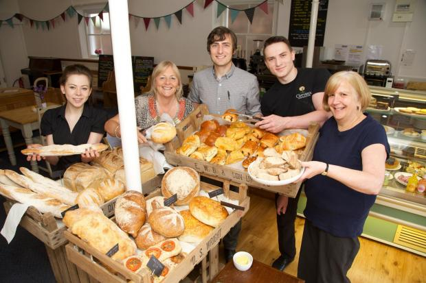 The Advertiser Series: COMMUNITY CAFE: Staff at the new Clervaux Bakery at Hurworth Methodist Church, from left,